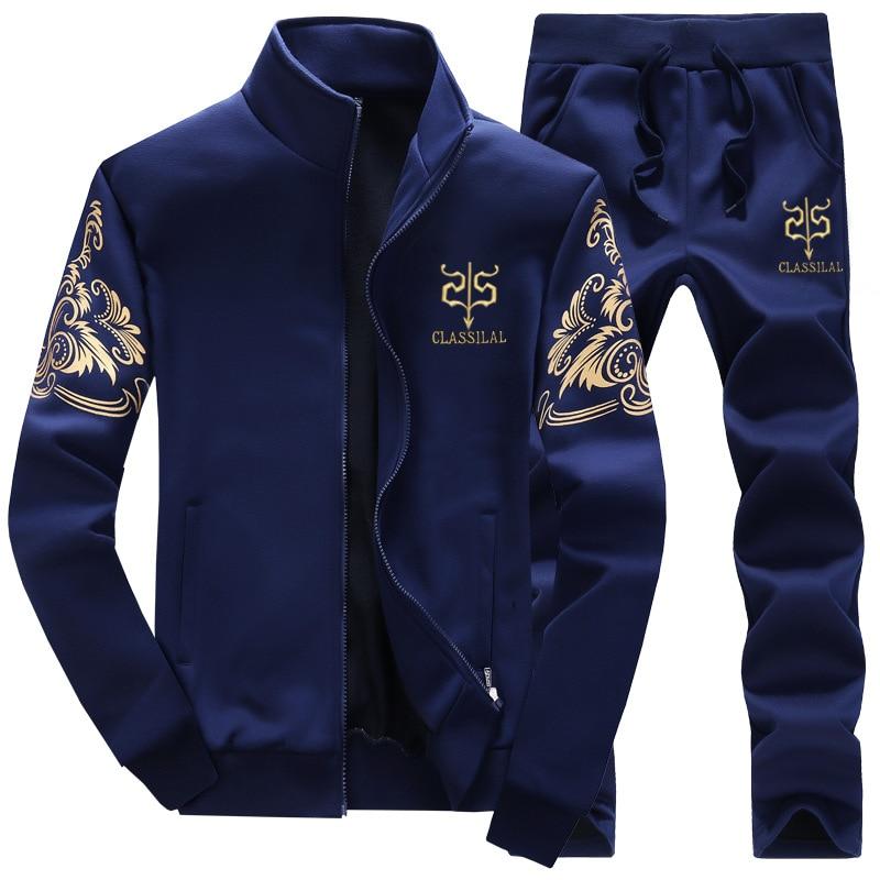 Plus men sport suit long sleeved cashmere coat high school male fitness baseball sweater sportswear pants