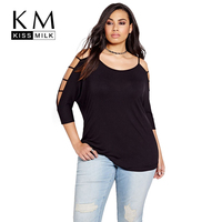 Kissmilk Plus Size New Fashion Women Clothing Casual Solid O Neck Off Shoulder Tops Hollow Out