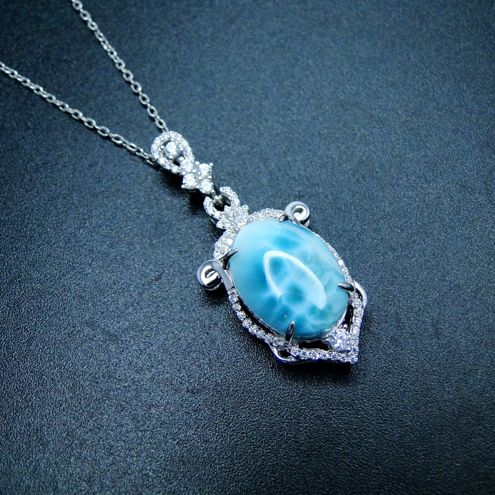 New 925 Sterling Silver Pendant with Real Big Oval 18x13mm Natural Larimar Long Pendant Charm for Christmas Gift without Chain