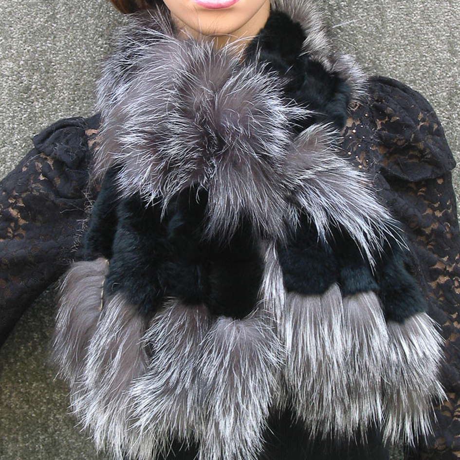 050201B brown black color New Fox fur c w rex rabbit fur scarf wrap cape shawl