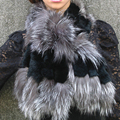 050201B brown + black color New Fox fur c/w rex rabbit fur scarf wrap cape shawl best christmas gift R