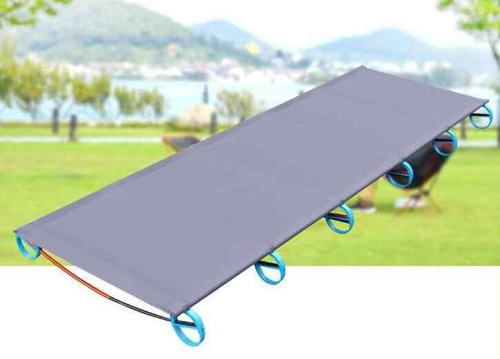 Cama plegable para exteriores, estera de Camping, ultraligera cama individual, cuna resistente, cama de dormir portátil, marco de aluminio