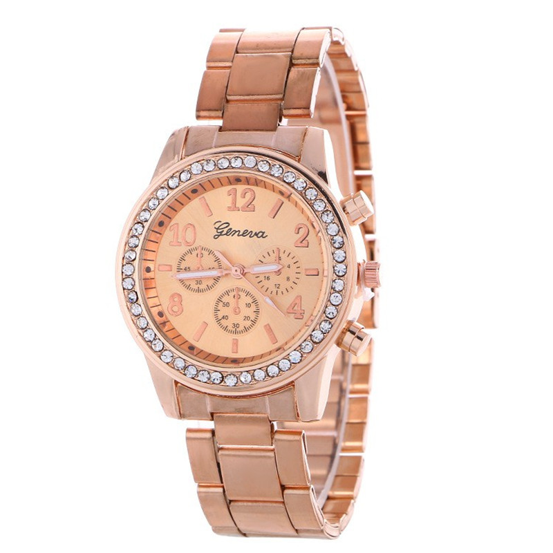 New Fashion Women Dress Rhinestone Quartz Watch Rose Gold Watch Female Stainless Steel Alloy Wristwatches Gift 2019 New Hot