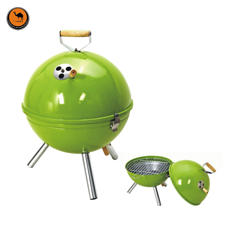Camping Apple Round Iron BBQ Stove Outdoor Portable Environmental Protection Paint Charcoal Grill Fits for 3-5 Person Barbecue
