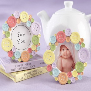 FREE SHIPPING(12pcs/Lot)+Birthday Party Giveaway Colorful Round Button Picture Frame Mini Baby Photo Frames Place Card Holder