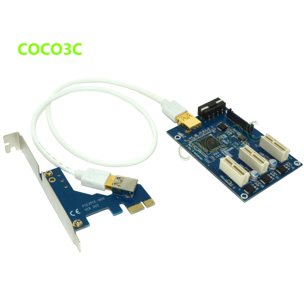 Free shipping 1 to 3 PCI express 1X slots Riser Card PCIe x1 to external 3 PCIe slot adapter PCI-e Port Multiplier Card hot sale pci e express 1x to 3 port 1x switch multiplier hub riser card usb cable 1 pc drop shipping gifts wholesale