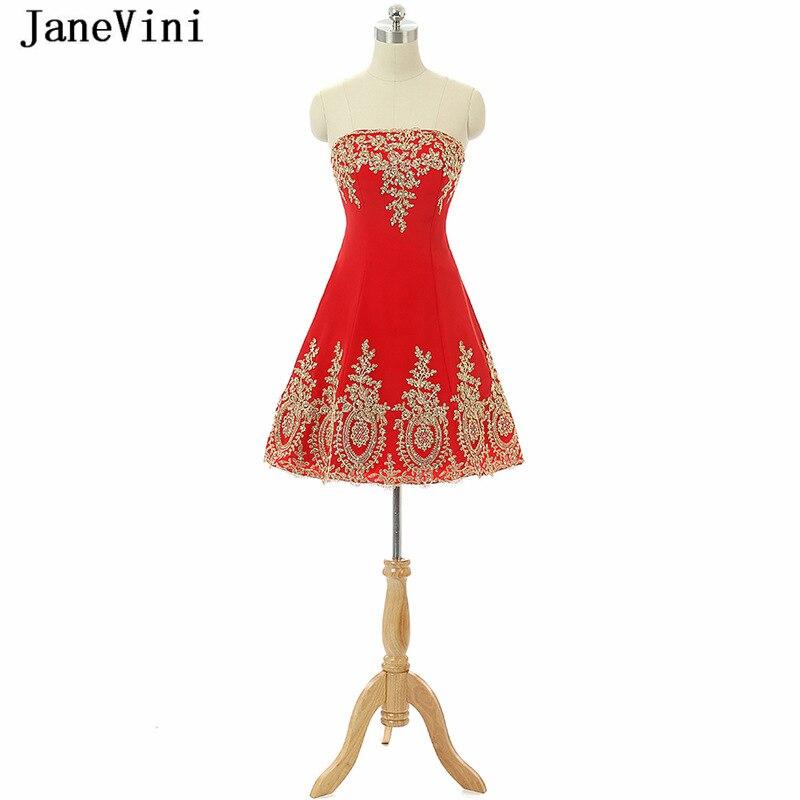 JaneVini Short   Bridesmaid     Dresses   A Line Strapless Beaded Gold Lace Applique Arabic Red Prom Gowns Vestido De Festa De Casamento