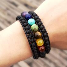 Women 7 Chakra Wrist Bracelet Onyx Lava Stone Braided Rope Wrap Bracelets Handmade Bohemian Jewelry Wholesale