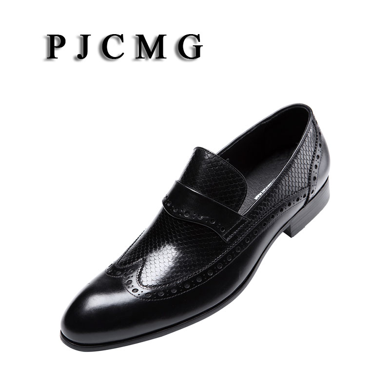 PJCMG Fashion Men Oxford Wedding Male Slip On Pointed Toe Office Genuine Leather Dress Black Brown