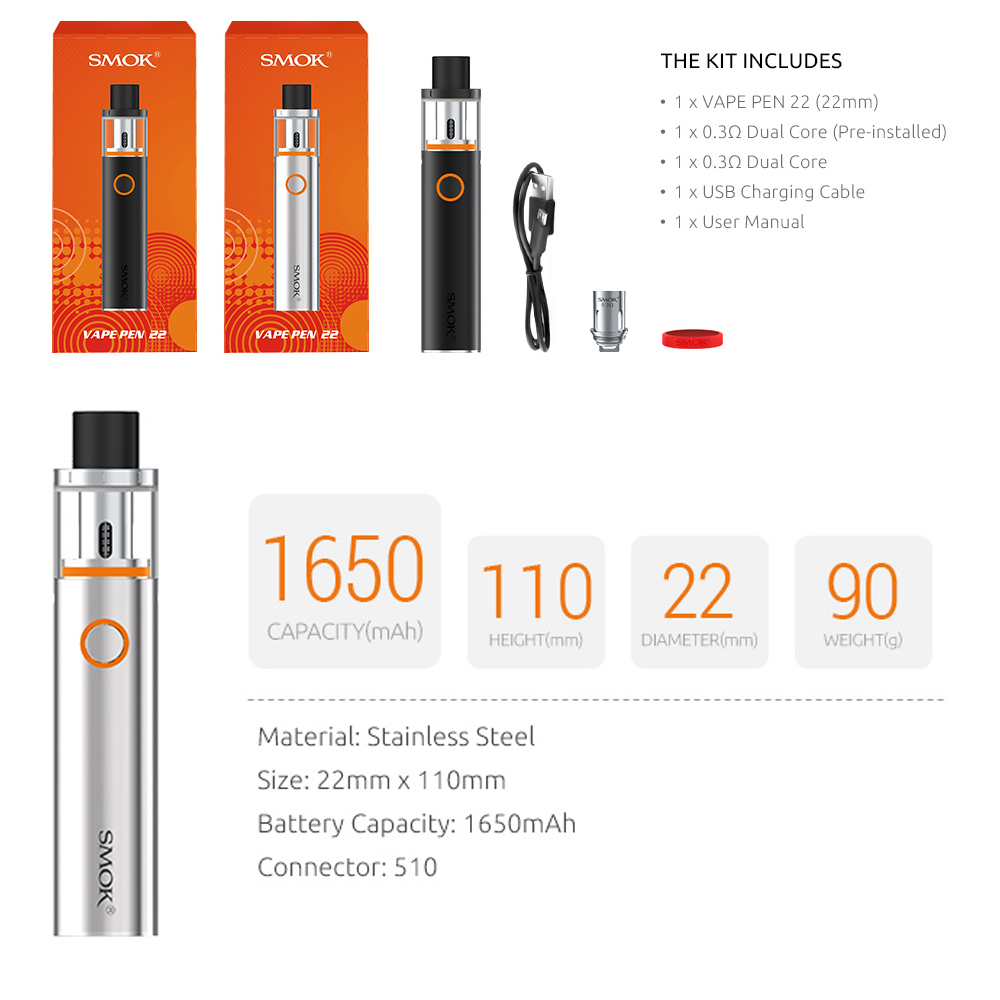 US $11 5 40% OFF|SMOK Vape Pen 22 Kit Vape Pen 22 Tank 0 3ohm Dual Core  with Built in 1650mah Battery with LED Indicator electronic cigarette-in