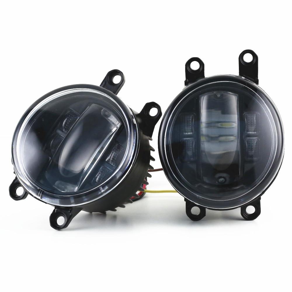 1 Pair Black LED Projector Fog Light 4 LEDcar Fog Light for Toyota Camry Corlla RAV4