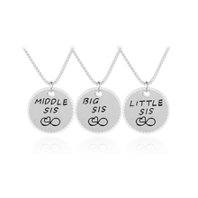 New Arrival Big Sis Middle Sis Little Sis Gold Silver Plated Necklace Round Lettering Pendant For Sisters Christmas Jewelry
