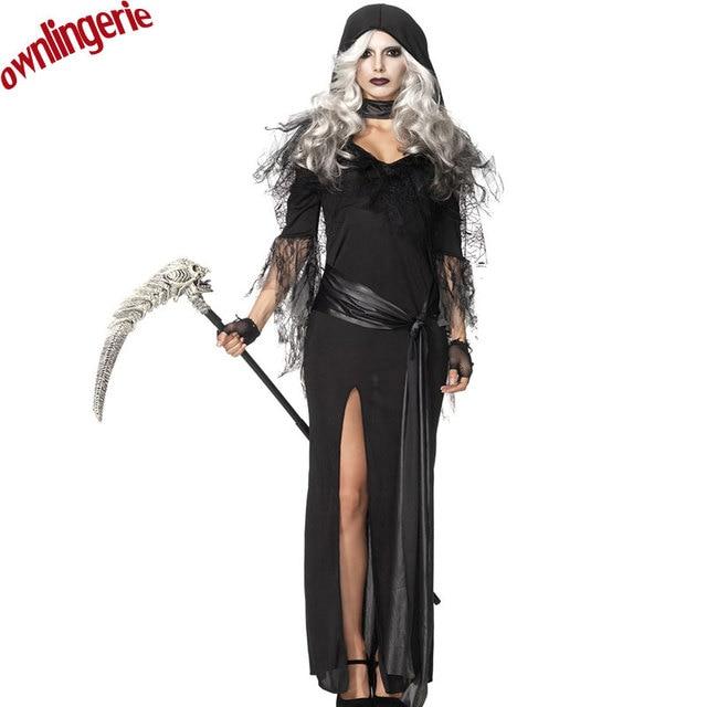 d79ec3d996e8 2017 New Hot Black Dark Devil Fallen Angel Costume Women Sexy Halloween  Party Adult Gothic Witch Costume Fancy Dress w1711