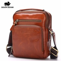 BISON DENIM Genuine Leather Ipad Bag Brand Men Bags Shoulder Crossbody Bags Messenger Vintage Casual Handbags