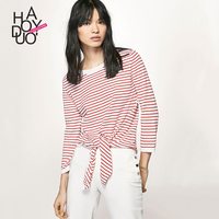 Haoduoyi autumn western style fashion loose thin fabric striped three quarter sleeve SML XL O-neck woman's Casual short knitwear