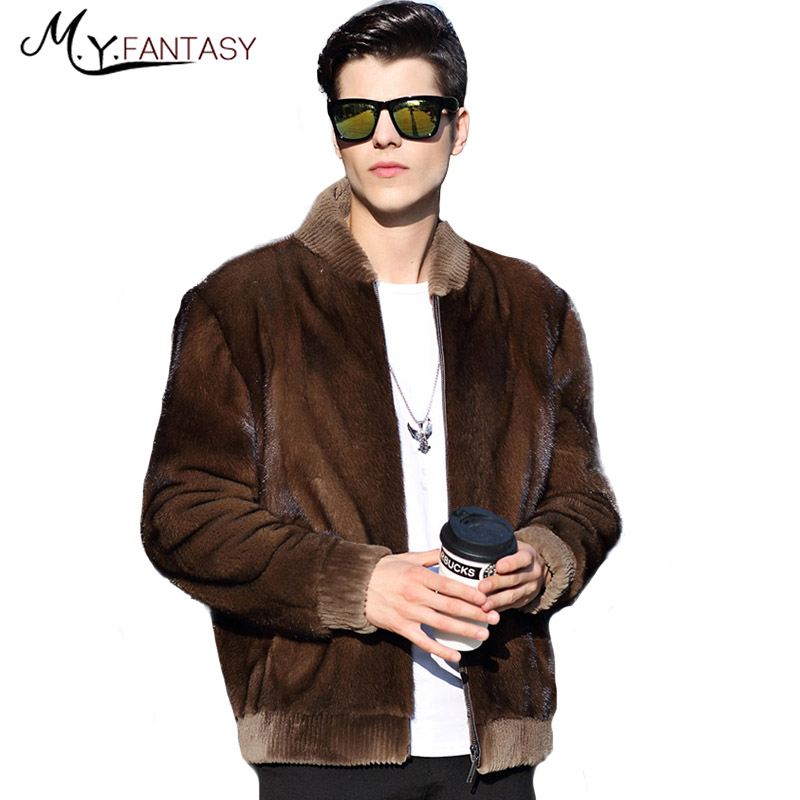 Coat Long-Sleeve Real-Fur Winter Casual Velvet Business Stand Swan Coffee Youth M.Y.FANSTY