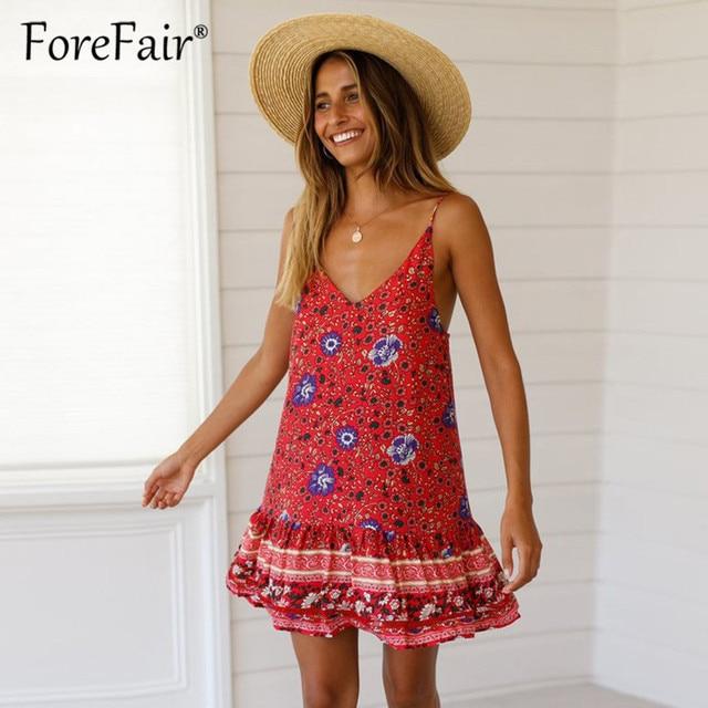 ee5cdad5d05 Forefair Women Vintage Boho dress 2019 Spaghetti Strap backless summer  beach mini dresses sleeveless v neck