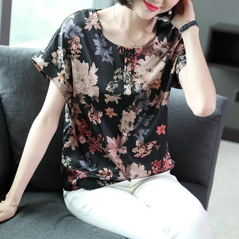 Haut à manches 2018 femmes de new antique imprimé soie du mûrier lâche Édition Coréenne dames col rond couture T-shirt