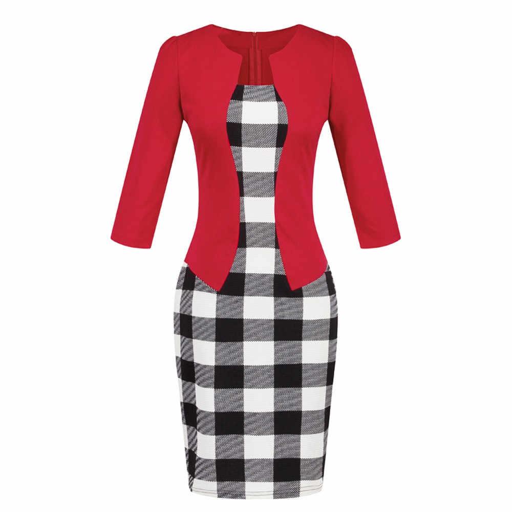 Jaycosin roupas femininas colorblock vestido xadrez para o trabalho festa de negócios vestido faixa traje profissional hip lápis vestido 2019