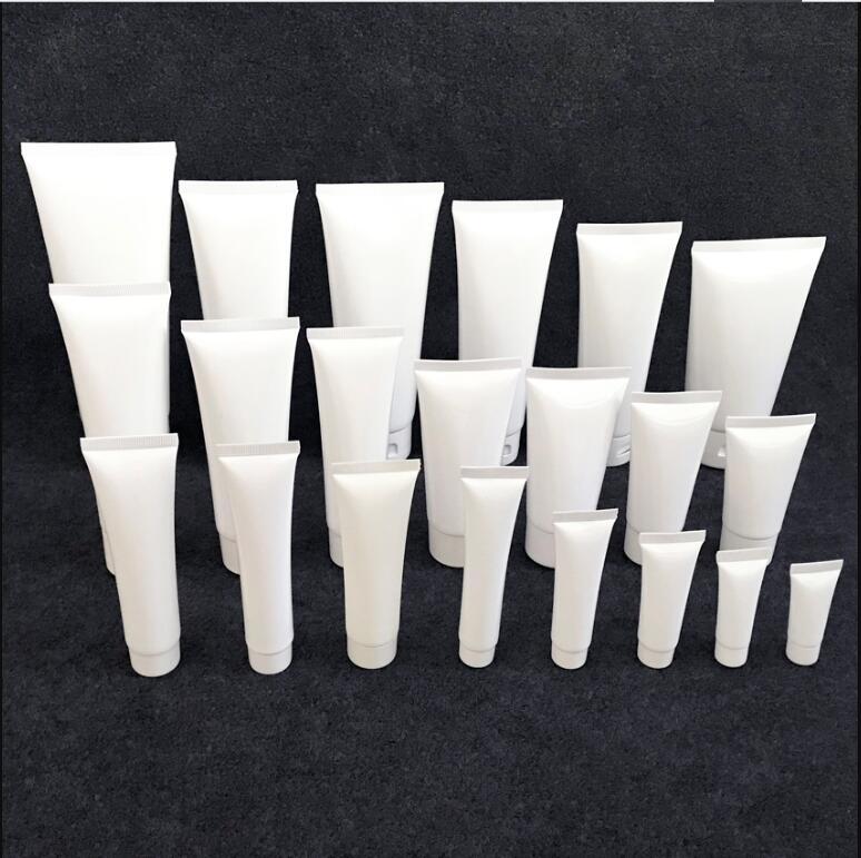 Image 4 - 100 pcs Free Shipping 50 100 120 150 200 g White plastic Packing Hose Bottle Flip Cap Gel cream lotion empty Container sealRefillable Bottles   -