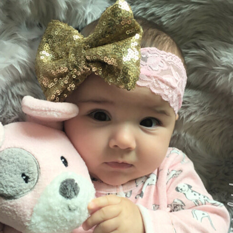 2019 NEW Chic Bow with Lace Headband Big Bow Lace Headband Newborn Girl Headband Kids Sequin   Headwear   Hair Accessories 1 PC