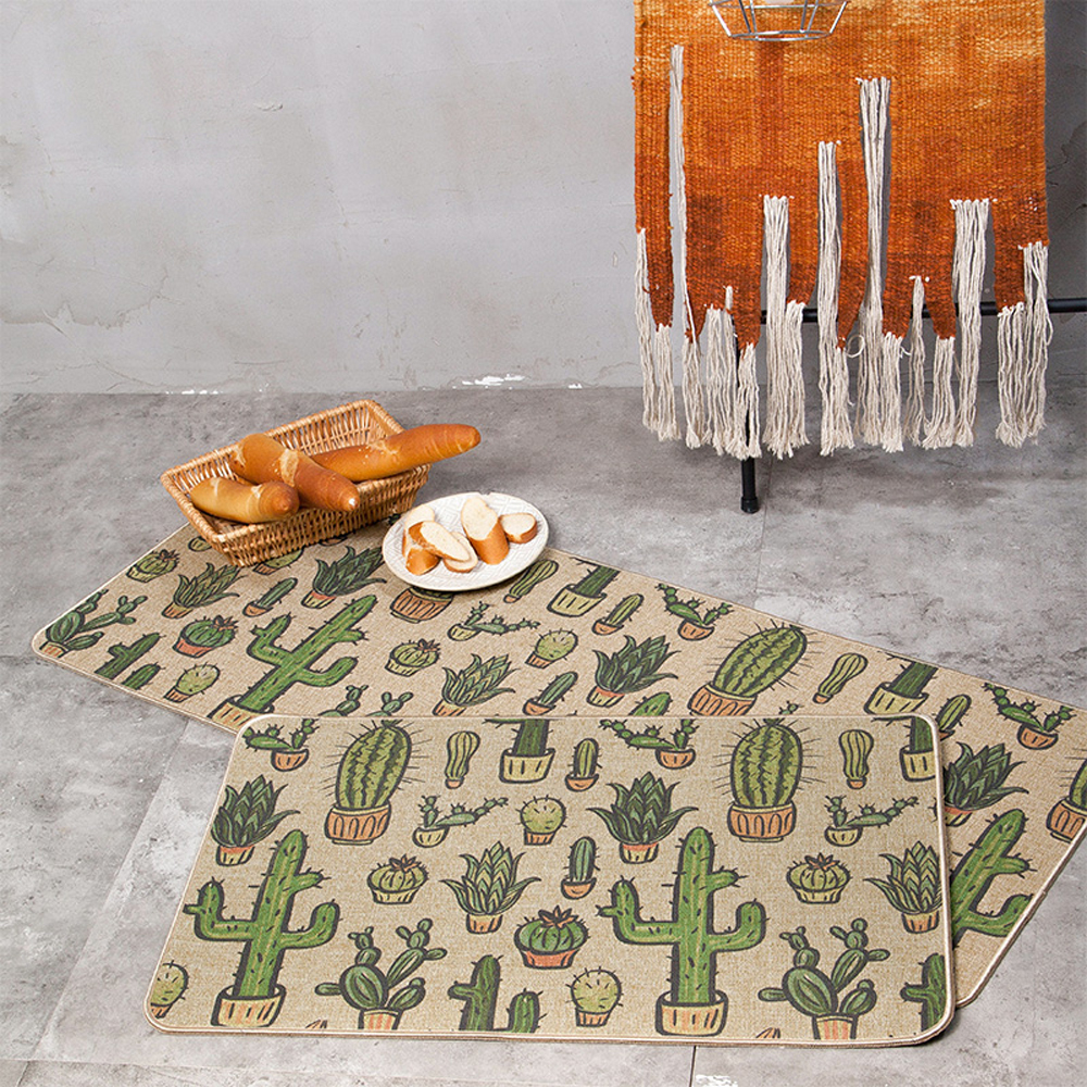 pinchos göteborg karta Natural Rubber Back Cactus Kitchen Rug Sets Mat Oil Proof  pinchos göteborg karta