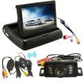 Car Foldable LCD 4.3 Monitor Wireless IR Rearview Parking Reversing Camera Kit 120 Degree Angle Rear View Backup Camera