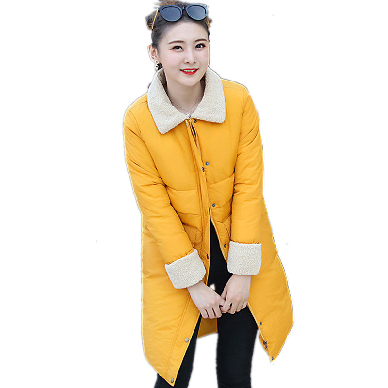 Women Winter Jacket Thicken Wadded Cotton Turn Down Collar Solid Color Jacket Female Maxi Coats Warm Casaco Femme Parkas MZ1746 yellow winter jacket women thicken wadded cotton jacket female maxi coats warm parka winter coat casaco feminino parkas c3482