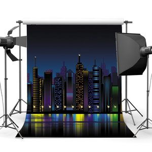 Image 1 - New York City Night View Backdrop Cartoon Backdrops Skyscraper Glitter Lights Photography Background