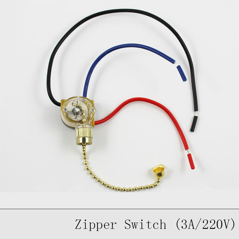 Lamp Pull Chain Zipper Switch Ceiling Light Wall Lamp Switch Ceiling Fan Switch 3 Wire Double Control Zipper Switch 2PCS/Lot