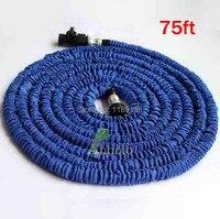 Free Shipping 1 Pcs Retail Aluminum Conector 75ft Garden Hose Expandable Flexible Blue Water Hose High