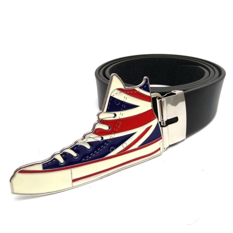 Black pu leather Belts for men with union jack British flag plimsolls canvas shoes metal ...