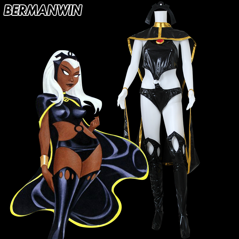BERMANWIN High Quality X-Men Storm Costume Black Gold Shiny Superhero Suit with Cape Halloween Cosplay Costume