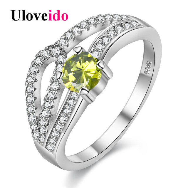 Uloveido Wedding Rings For Women Silver Color Costume Jewelry Ring Female Bijoux Green Stone Ringen Bague
