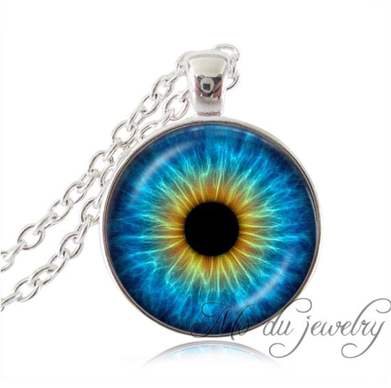 Orange blue cat eye necklaces silver chain eye photo necklace jewelry women statement neklace glass cabochon pendant necklace