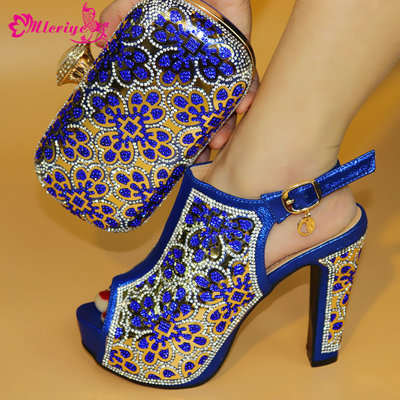 купить a19-3 New 2018 arrival Italian shoes with matching bags set in blue color African woman shoes and bag set free shipping по цене 5375.2 рублей