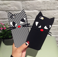 Горячие продажи 3d мультфильм симпатичные черная борода cat кремния полоса cat case для iphone 6 6s 7 плюс 6s плюс 5 5S se задняя крышка телефона случаях