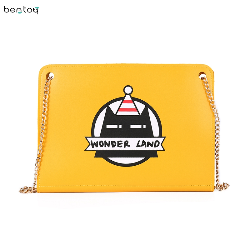 Bentoy Harajuku Women Messenger Bag Personality Print Envelope Bag Leather Day Clutches Chains Crossbody Bag For Girls billetera sailor moon