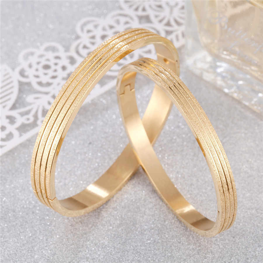 ZINDOV Stainless Steel Men And Women Bracelets Bangles Gold Fashion Jewelry Shiny Satin Finish Christmas Gift Bangles Rose Gold