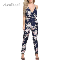 AuraPicco נשים רצועת V צוואר פרחוני סרבל סקסי ללא משענת שרוך ארוך שרוולים Playsuit מכנסיים מסיבת קיץ החוף תלבש