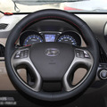 For Hyundai IX35 High Quality Hand-stitched Anti-Slip Black Top PVC Leather DIY Steering Wheel Cover