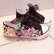 2019 new spring feminino lace-up shoes Women Flat  Canvas Shoes hand made flower string bead fashion Female Casual