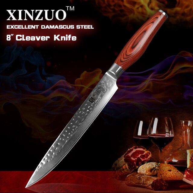 "XINZUO 8 ""มีดมีด 73 ชั้นดามัสกัสเหล็ก SAMURAI ใหม่ล่าสุดมีดครัวเหล็กสแตนเลส HAM มีดมือจับ Pakkawood"