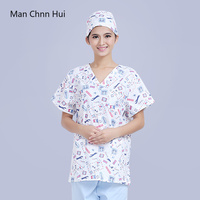 Medical shirt 100% Cotton Print Short Sleeve Operating Room Doctors Nurses Scrub Workwear tops