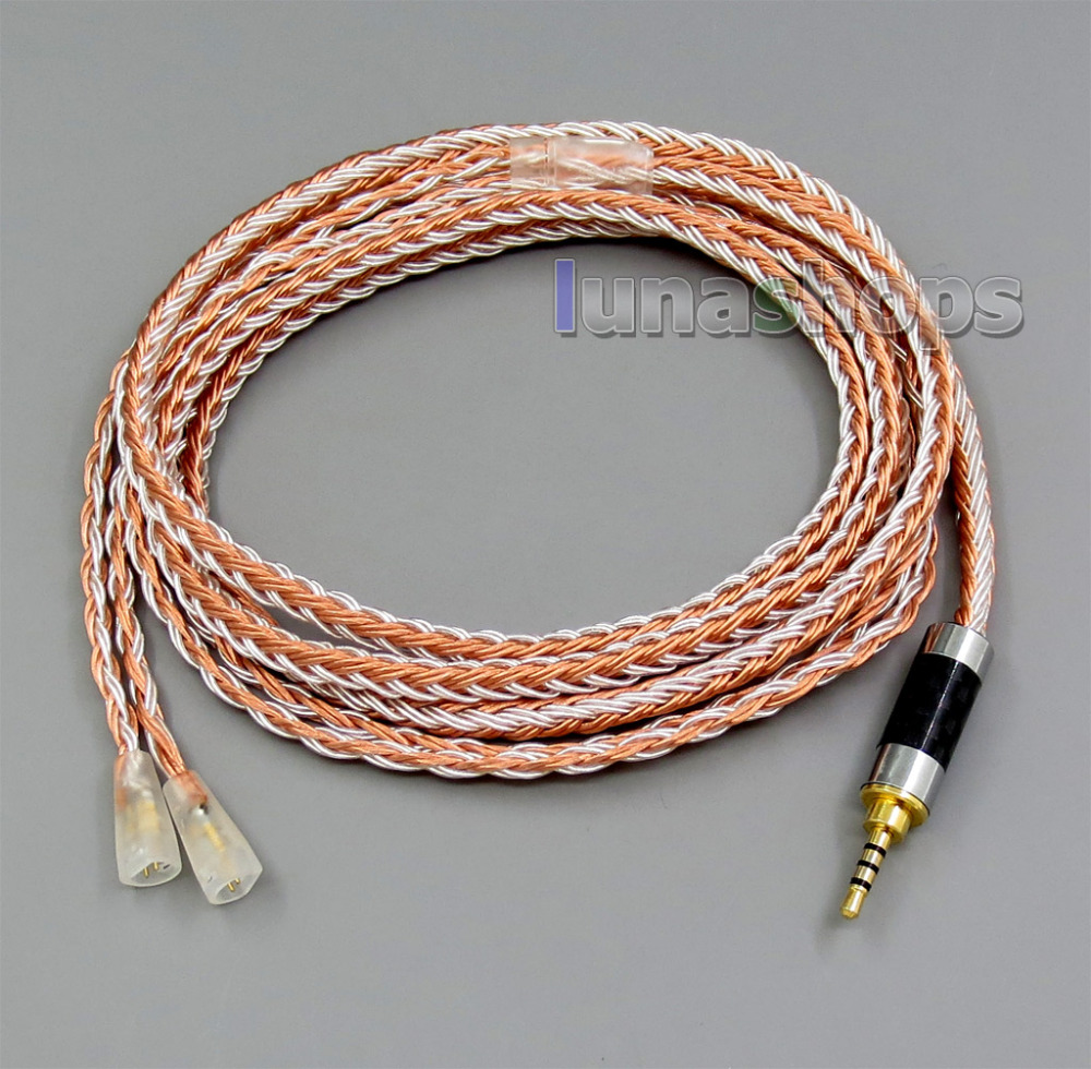2.5mm 4pole TRRS Balanced 16 Core OCC Silver Mixed Headphone Cable For Sennheiser IE8 IE80 IE8i LN005815 цена и фото