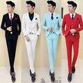 Figurinos para os cantores de terno preto blazers masculinos dos homens 3 pieces homens ternos formais noivo smoking terno de negócio dos homens terno moda