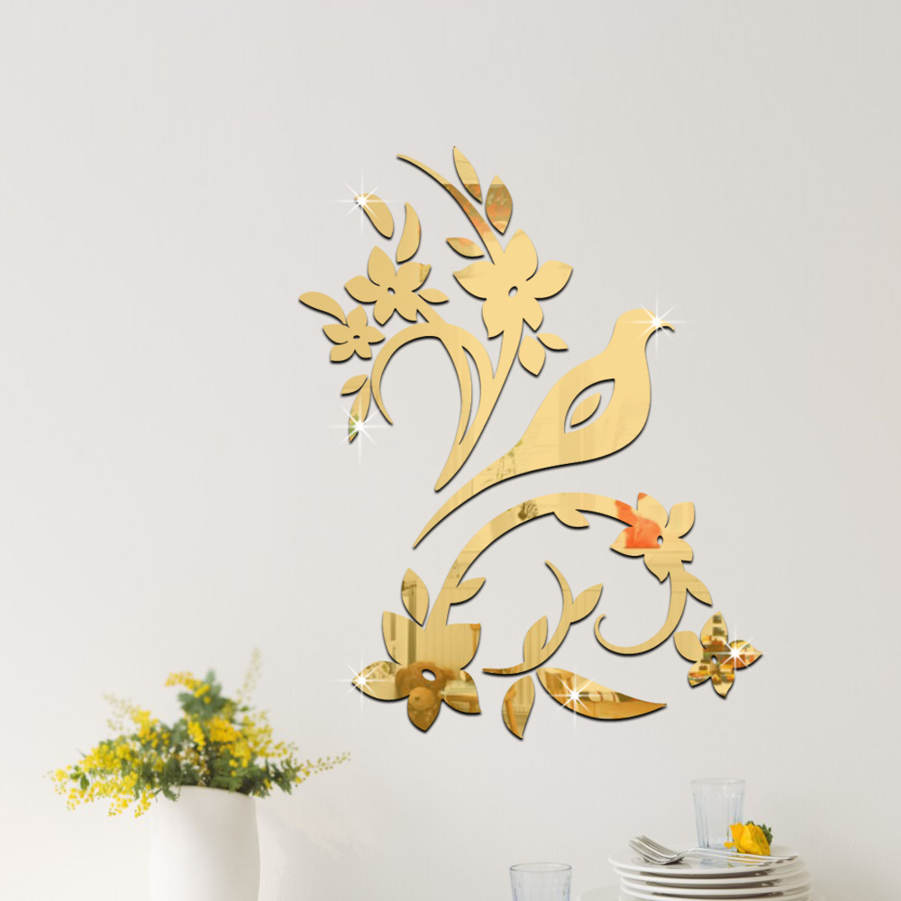 Bird flower branch mirror decal sticker , 3D DIY Wall Modern Design ...