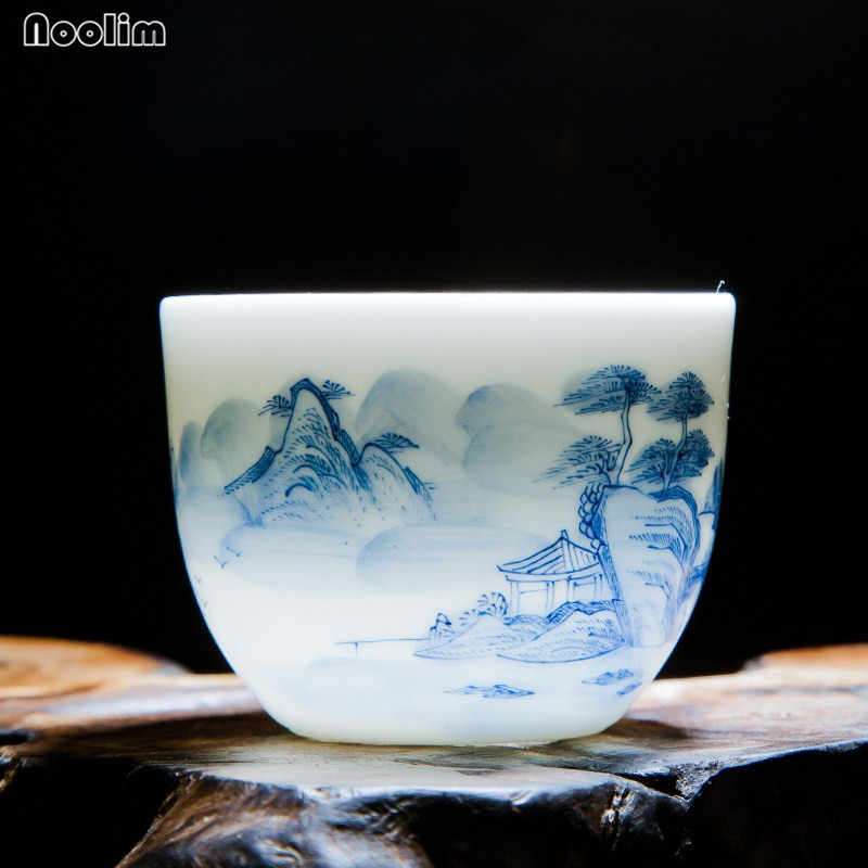 NOOLIM Jingdezhen Kung Fu Landscape Tea Cup Set Travel Chinese Porcelain Coffee Cup Ceramic Tea Cup Drinkware Accessories