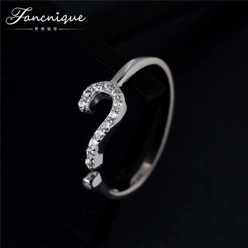 S925 Sterling Silver jewelry zircon stone Question mark shaped Ring women fancy jewelry