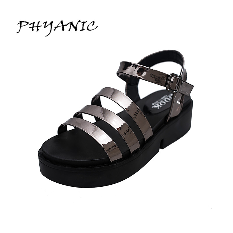 PHYANIC Summer Style Shoes Woman 2017 New Gladiator Sandals Platform Flats Fashion Creepers Women Flat Shoes 3 Colors PHY4044 phyanic summer gladiator sandals beach platform shoes woman wedges sandals slip on flats creepers casual women shoes phy3337